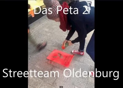 Screenshot YouTube Video Peta 2 Streetteam Oldenburg am 28. 03. 2015 von 15 - 17 Uhr in Oldenburg von Dieter Alves