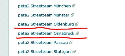 Screenshot Auflistung Streetteams auf der Webseite Peta2.de