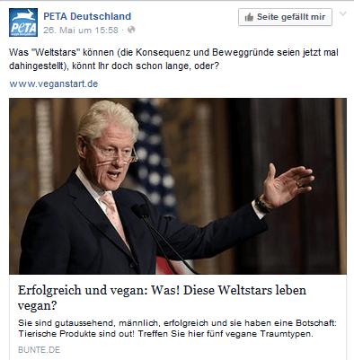 PeTA zeigt Bill Clinten der kein Veganer ist als Vorzeige Veganer auf Facebook