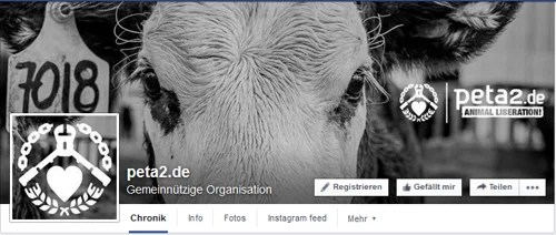 PeTA2 Logo, auf Facebook Screenshot:https://www.facebook.com/petazwei/?fref=ts