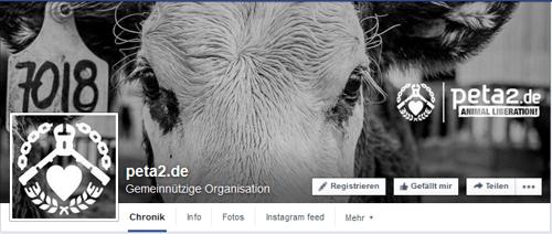 PeTA2 Logo, auf Facebook Screenshot: https://www.facebook.com/petazwei/?fref=ts