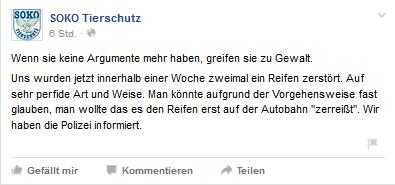 Screenshot Facebook Seite Soko Tierschutz 05.08.2015