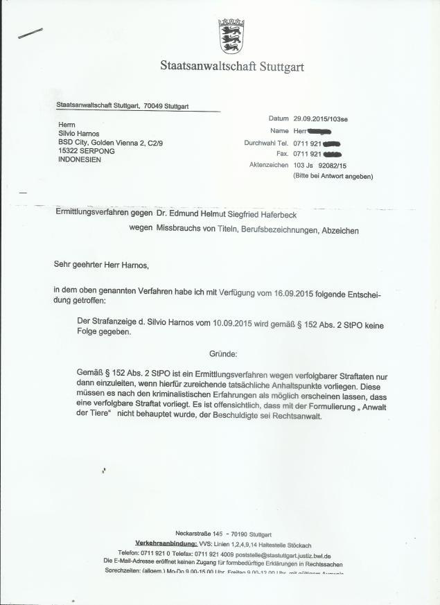 Antwort Staatsanwaltschaft Haferbeck