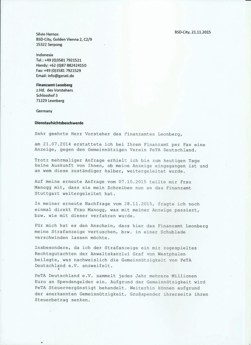 Dienstaufsichtsbeschwerde z.Hd. des Vorsteher Finanzamt Leonberg Seite 1