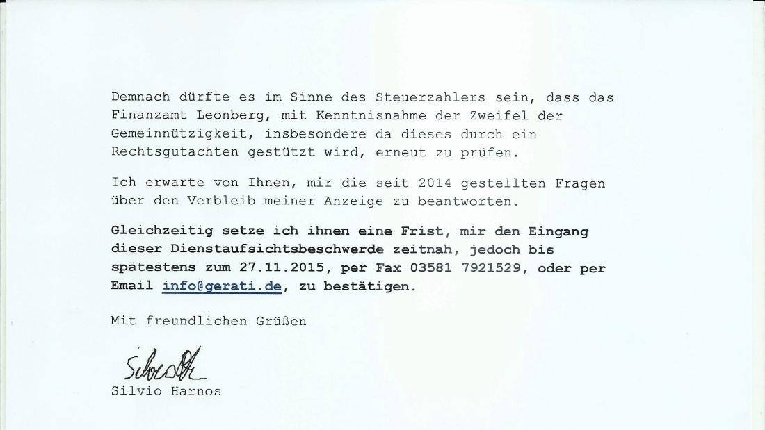 Dienstaufsichtsbeschwerde z.Hd. des Vorsteher Finanzamt Leonberg Seite 2