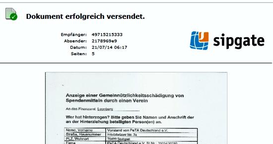 Kopie des Sendeberichtes an das Finanzamt Leonberg