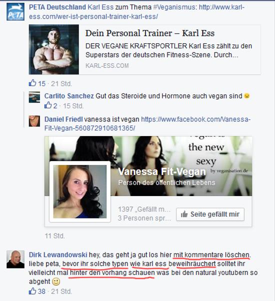 Screenshot Facebook Seite PeTA