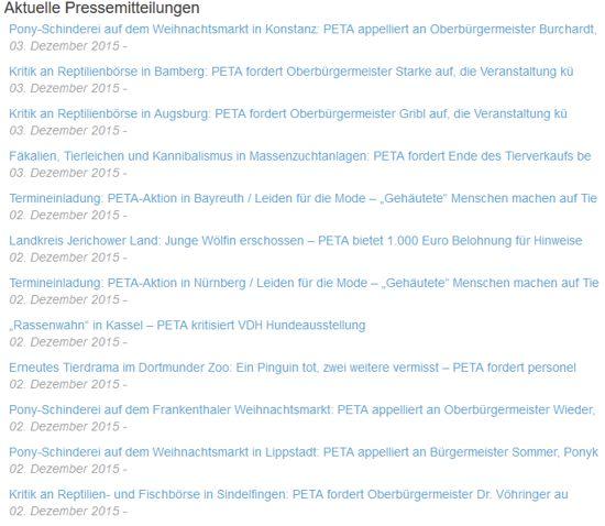 Screenshot PeTA.de aktuelle Pressemiteilungen