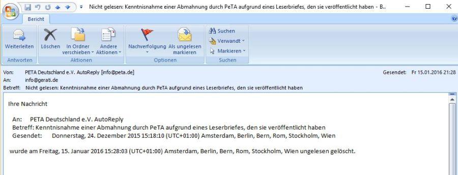 Nachricht vom PeTA Mailserver - Meine Email wurde nicht gelesen