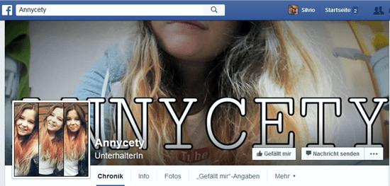 Screenshot Facebook Profil Annalena Hartung