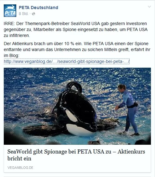 Screenshot: PeTA Facebook