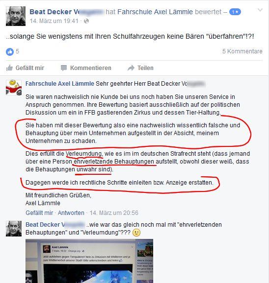 Screenshoot Facebook Fahrschule Axel Lämmle