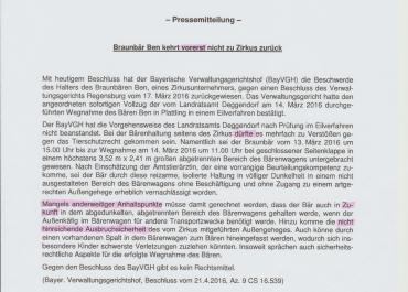 Pressemitteilung zum Urteil des BVwGH Braunbär Ben kehrt vorerst nicht in den Zirkus zurück
