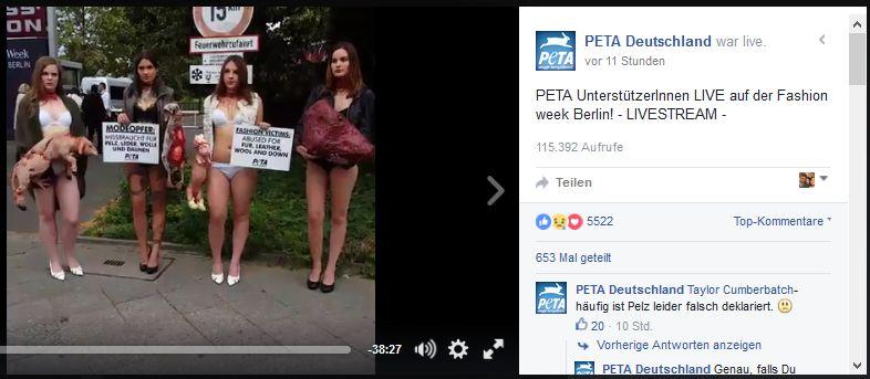 PeTA ´s neue Berliner Strassenschwalben, Screenshot Facebook PeTA