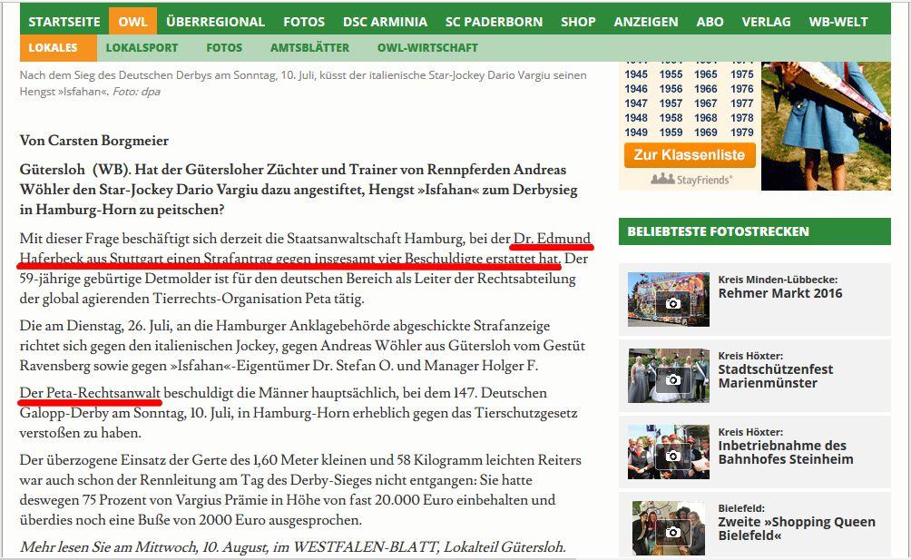 Dr. Edmund Haferbeck wird in der Presse als Rechtsanwalt betitelt / Screenshot: http://www.westfalen-blatt.de/OWL/Lokales/Kreis-Guetersloh/Guetersloh/2487277-Strafanzeige-gegen-Guetersloher-Isfahan-Zuechter-Andreas-Woehler-Rennsieg-hinterlaesst-Narben