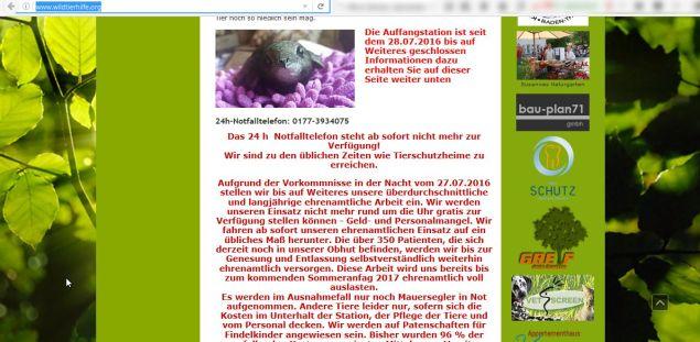 Screenshot wildtierhilfe.org