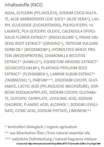 Scrrenshot Inhaltsstoffe des PeTA Duschgel