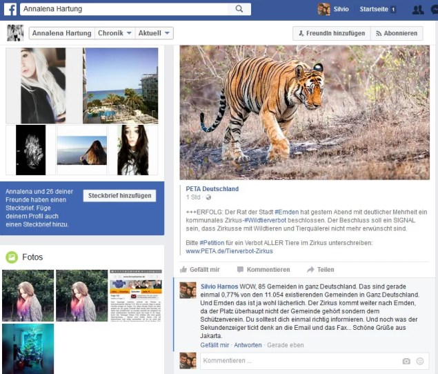 Zirkusverbot in Emden – Nein Danke / Screenshot Facebook Annalena Hartung