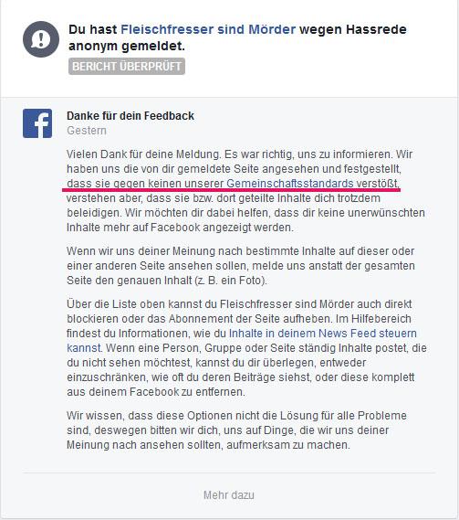 """""""sind Mörder"""" verstößt nicht gegen die Facebookbestimmungen"""