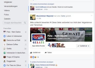 """Shitstorm Aufruf gegen GERATI auf Facebook """"Vegane Vernetzung"""""""