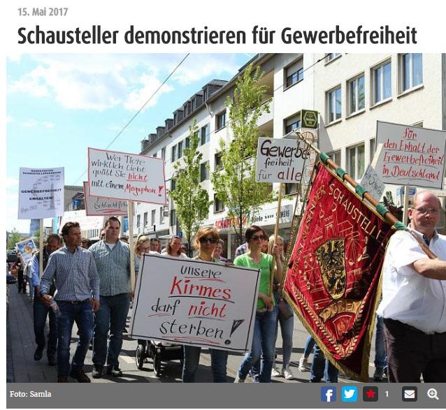 Große Demo in Krefeld / Foto: http://www.mein-krefeld.de/die-stadt/schausteller-demonstrieren-fuer-gewerbefreiheit-bid-1.6821537