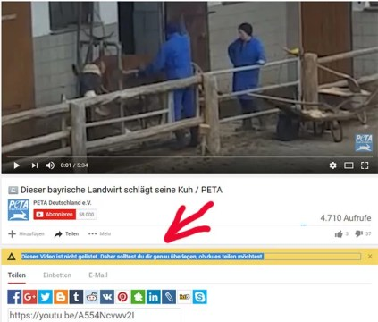 PeTA duldet Tierquälerei / Screenshot Youtube PeTA Deutschland