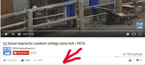 PeTA duldet Tierquälerei / Screenshot Youtube PeTA Deutschland
