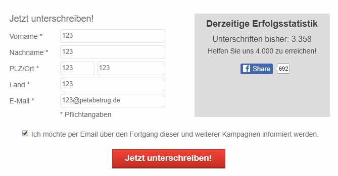 GERATI kann PeTA erneut Betrug nachweisen / Screenshot peta.de