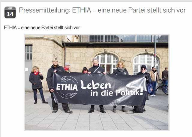 Slogan der Ethia Partei - Screenshot ethia.de
