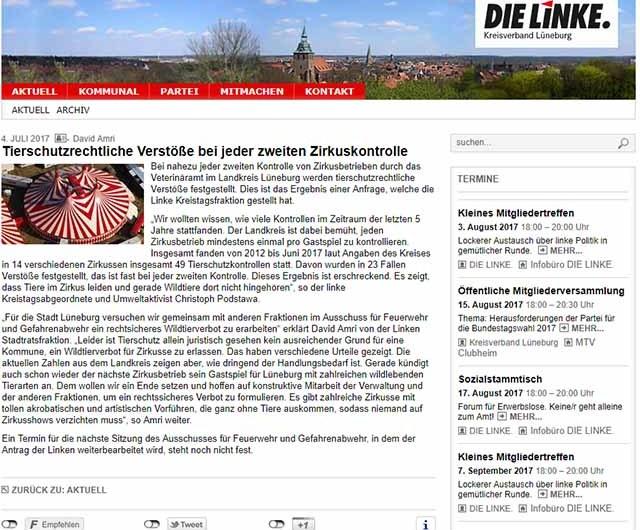 Die Linken – Tierschutzverstöße, die keine Tierschutzverstöße sind - Screenshot dielinke-lueneburg.de