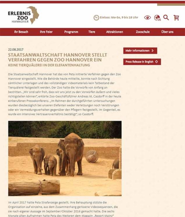 Pressemitteilung des Zoo Hannover über die Einstellung des Ermittlungsverfahrens / https://www.zoo-hannover.de/de/ueber-uns/presse-archiv/Staatsanwaltschaft-stellt-Verfahren-ein