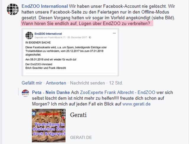Veruntreut Frank Albrecht EndZoo Gelder? / Screenshot: Facebook PeTA - Nein Danke