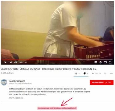 Kommentare werden unter diesem Video nicht zugelassen / Screenshot Youtube Kanal von Soko Tierschutz