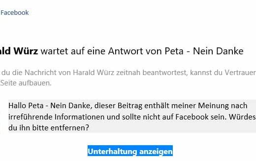 Screenshoot Outlook E-Mail von Facebook