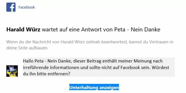 Screenshoot Outlook E-Mail von Facebook