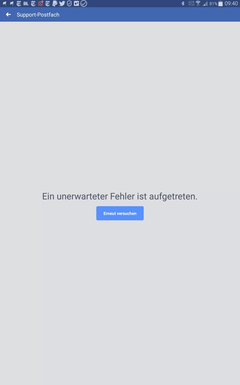 Der Facebook Support ist nicht erreichbar