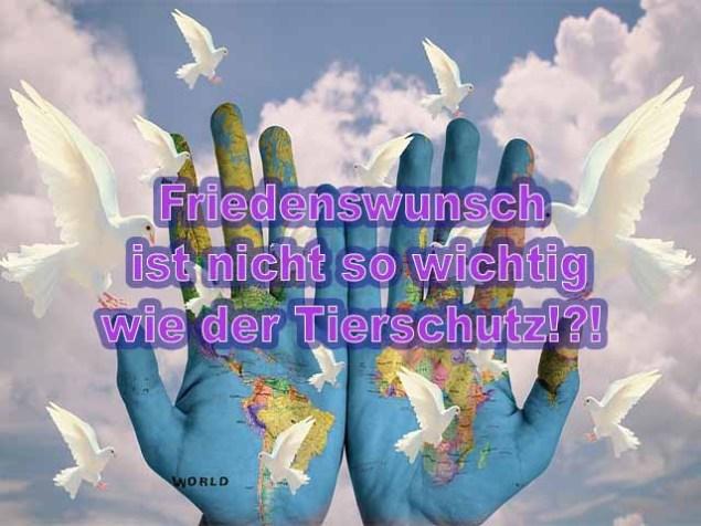 Friedenswunsch ist nicht so wichtig wie der Tierschutz!?!