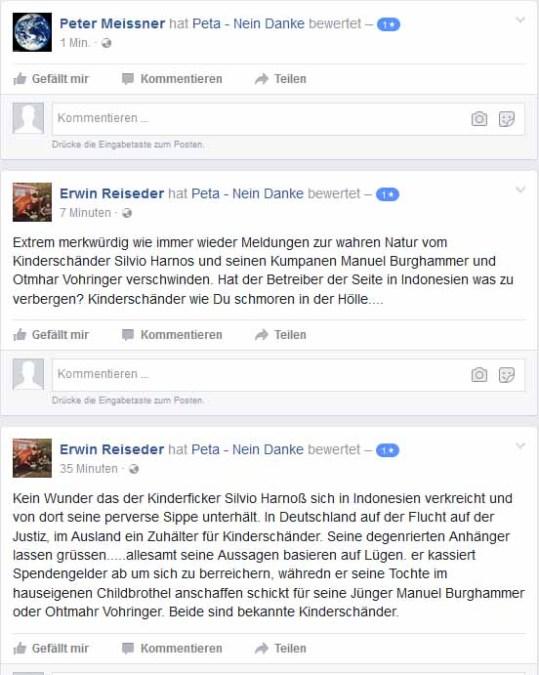 Peta Unterstützer Erwin Reisender in Aktion mit 3 Accounts!