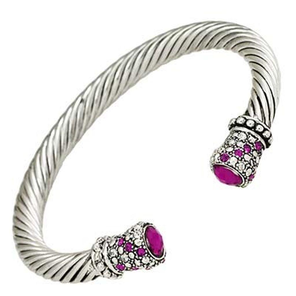Designer S Touch Pink Fuchsia Cuff Bracelet Twisted Wire