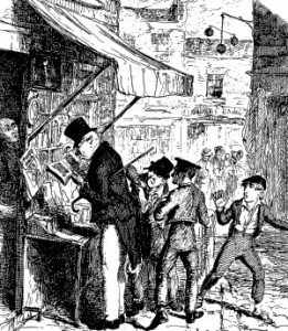 Pickpockets by George Cruikshank from 'Oliver Twist, Public Domain
