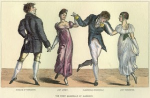 First Quadrille at Almacks - left to right: Marquis of Worcester, Lady Jersey, Clanronald MacDonald, and Lady Worcester, Courtesy of Wikipedia