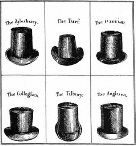 The Top Hat in Some of its Various Styles in 1830, Public Domain