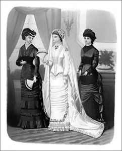 (Right to Left) April 1881 Bridesmaid Costume, Wedding Toilette, and Bride's Traveling Costume, Author's Collection