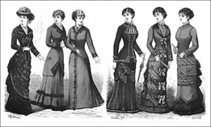 (Left to Right) Dark-Green Brocade, Matinee, Dressing Gown, Promenade Costume, Beige Costume, and Promenade Toilette, Author's Collection