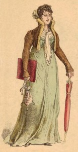 Woman with Closed Parasol from Early 1800s, Author's Collection