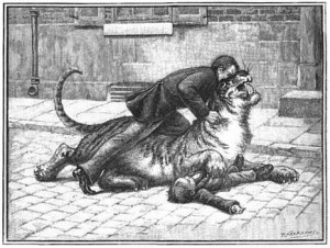 Charles Jamrach Fighting the Tiger, Public Domain