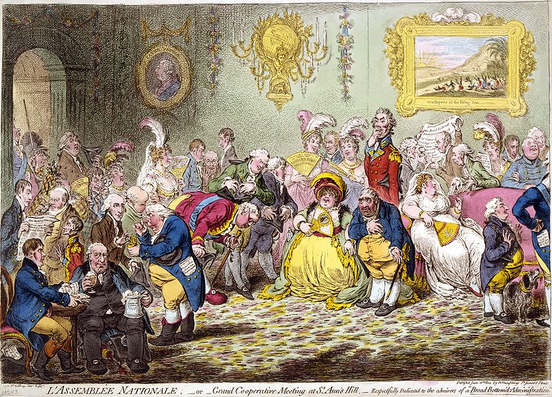 """L'Assemblée Nationale (1804) was called """"the most talented caricature that has ever appeared,"""" partly due to its """"admirable likenesses"""" of the assembly. The Prince of Wales paid large sums of money to have it suppressed and its plate destroyed. Courtesy of Wikipedia"""