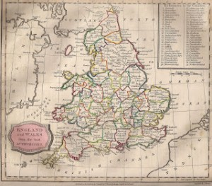 Map of England and Wales. Barclay's Dictionary, Bungay edition, (T. Kinnersley, 1813), Author's Collection