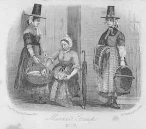 A group of Welsh women in traditional costume in the 1860s. Did a group of Welsh ladies with their tall hats really terrify the French invaders so much that they surrendered? Author's collection.