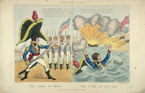 The 'Game of Brag' and 'Game of Hazard'. A later print (1803) shows Napoleon, wearing an oversized hat and holding a large sword, commands his troops to follow him in an invasion of England. 'Hazard' shows the French fleet destroyed and Napoleon all at sea. Fears of invasion did not calm down until after Nelson's defeat of the French fleet at Trafalgar in 1805. Courtesy Library of Congress: LC-DIG-ppmsca-04306.